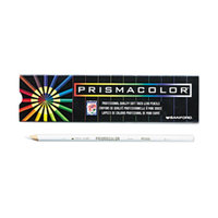 Prismacolor 3365 12-Count Premier White Woodcase Barrel 3mm Soft Lead White Colored Pencil