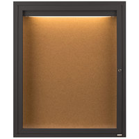 Aarco DCC2418RIBA 24 inch x 18 inch Enclosed Hinged Locking 1 Door Bronze Anodized Finish Indoor Lighted Bulletin Board Cabinet
