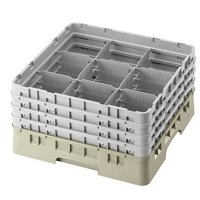 Cambro 9S958184 Beige Camrack 9 Compartment 10 1/8 inch Glass Rack