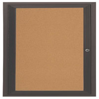 Aarco DCC3636RBA 36 inch x 36 inch Enclosed Hinged Locking 1 Door Bronze Anodized Finish Indoor Bulletin Board Cabinet