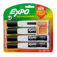 Expo 1944729 Black Chisel Tip Magnetic Dry Erase Marker - 4/Pack