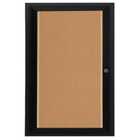 Aarco DCC3624RIBK 36 inch x 24 inch Enclosed Hinged Locking 1 Door Powder Coated Black Finish Indoor Lighted Bulletin Board Cabinet