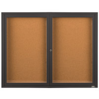 Aarco DCC3648RBA 36 inch x 48 inch Enclosed Hinged Locking 2 Door Bronze Anodized Finish Indoor Bulletin Board Cabinet