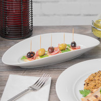 Schonwald 9392630 Grace 11 7/8 inch x 5 3/8 inch Continental White Porcelain Long Tray - 6/Case