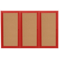 Aarco DCC4896-3RR 48 inch x 96 inch Enclosed Hinged Locking 3 Door Powder Coated Red Finish Indoor Bulletin Board Cabinet