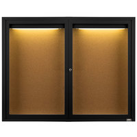 Aarco DCC4872RIBK 48 inch x 72 inch Enclosed Hinged Locking 2 Door Powder Coated Black Finish Indoor Lighted Bulletin Board Cabinet