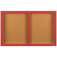 Aarco DCC3660RR 36 inch x 60 inch Enclosed Hinged Locking 2 Door Powder Coated Red Finish Indoor Bulletin Board Cabinet