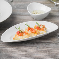Schonwald 9392622 Grace 8 1/2 inch x 3 7/8 inch Continental White Porcelain Long Tray - 12/Case