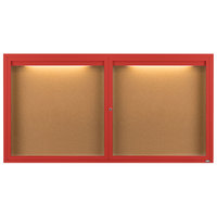 Aarco DCC3672RIR 36 inch x 72 inch Enclosed Hinged Locking 2 Door Powder Coated Red Finish Indoor Lighted Bulletin Board Cabinet