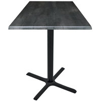 Holland Bar Stool OD211-3042BWOD36SQBlkStl 36 inch Square Black Steel Laminate Outdoor / Indoor Bar Height Table with Cross Base