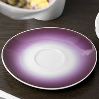 Schonwald 9396909-62945 Grace 5 1/2 inch Plum / Continental White Porcelain Saucer - 12/Case