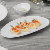 Schonwald 9392226 Grace 10 1/2 inch x 5 1/2 inch Continental White Porcelain Oval Platter - 6/Case