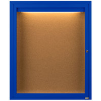 Aarco DCC3630RIB 36 inch x 30 inch Enclosed Hinged Locking 1 Door Powder Coated Blue Finish Indoor Lighted Bulletin Board Cabinet