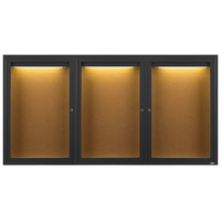 Aarco DCC3672-3RIBK 36 inch x 72 inch Enclosed Hinged Locking 3 Door Powder Coated Black Finish Indoor Lighted Bulletin Board Cabinet
