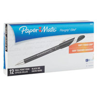 Paper Mate 85587 FlexGrip Elite Black Ink with Black Barrel 0.8mm Ballpoint Stick Pen - 12/Pack