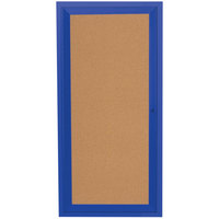 Aarco DCC2412RB 24 inch x 12 inch Enclosed Hinged Locking 1 Door Powder Coated Blue Finish Indoor Bulletin Board Cabinet