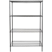 Regency 24 inch x 48 inch NSF Black Epoxy Shelf Kit with 74 inch Posts