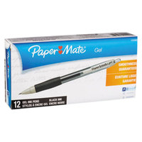 Paper Mate 1753362 Black Ink with Translucent Black Barrel 0.5mm Retractable Gel Pen - 12/Pack