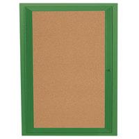 Aarco DCC3630RG 36 inch x 30 inch Enclosed Hinged Locking 1 Door Powder Coated Green Finish Indoor Bulletin Board Cabinet