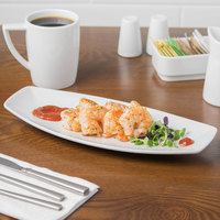 Schonwald 9322229 Event 11 3/8 inch x 4 7/8 inch Continental White Porcelain Long Tray - 6/Case