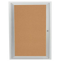Aarco DCC3630R 36 inch x 30 inch Enclosed Hinged Locking 1 Door Satin Anodized Finish Indoor Bulletin Board Cabinet