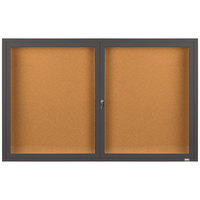 Aarco DCC3660RBA 36 inch x 60 inch Enclosed Hinged Locking 2 Door Bronze Anodized Finish Indoor Bulletin Board Cabinet