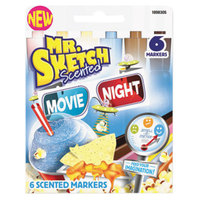 Mr. Sketch 1898305 Movie Night Assorted Color Chisel Tip Scented Watercolor Marker - 6/Pack