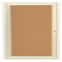 Aarco DCC3636RIIV 36 inch x 36 inch Enclosed Hinged Locking 1 Door Powder Coated Ivory Finish Indoor Lighted Bulletin Board Cabinet