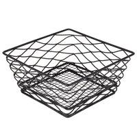 American Metalcraft BNRB86B Square Birdnest Black Metal Basket / Riser - 8 inch x 8 inch x 4 inch