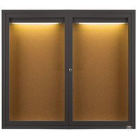 Aarco DCC4860RIBA 48 inch x 60 inch Enclosed Hinged Locking 2 Door Bronze Anodized Finish Indoor Lighted Bulletin Board Cabinet