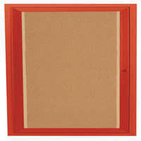 Aarco DCC3636RIR 36 inch x 36 inch Enclosed Hinged Locking 1 Door Powder Coated Red Finish Indoor Lighted Bulletin Board Cabinet
