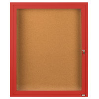 Aarco DCC3630RR 36 inch x 30 inch Enclosed Hinged Locking 1 Door Powder Coated Red Finish Indoor Bulletin Board Cabinet