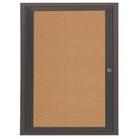 Aarco DCC3630RBA 36 inch x 30 inch Enclosed Hinged Locking 1 Door Bronze Anodized Finish Indoor Bulletin Board Cabinet