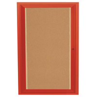 Aarco DCC3624RIR 36 inch x 24 inch Enclosed Hinged Locking 1 Door Powder Coated Red Finish Indoor Lighted Bulletin Board Cabinet