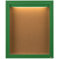 Aarco DCC2418RIG 24 inch x 18 inch Enclosed Hinged Locking 1 Door Powder Coated Green Finish Indoor Lighted Bulletin Board Cabinet