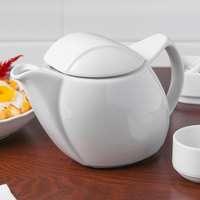 Schonwald 9194365 Avanti Gusto 11 oz. Continental White Porcelain Teapot with Lid - 4/Case