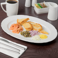 Schonwald 9062033 Marquis 13 inch x 9 1/4 inch Continental White Porcelain Oval Platter - 6/Case