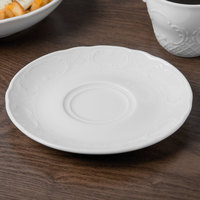 Schonwald 9066920 Marquis 6 1/4 inch Continental White Porcelain Saucer - 12/Case