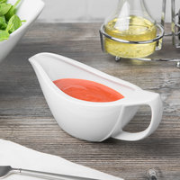 Schonwald 9193835 Avanti Gusto 12 oz. Continental White Porcelain Sauce Boat - 3/Case