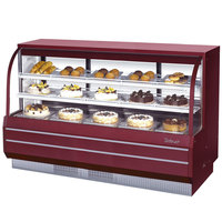 Turbo Air TCGB-72-DR Red 72 1/2 inch Curved Glass Dry Bakery Display Case - 22.7 Cu. Ft.