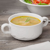 Schonwald 9062728 Marquis 9.5 oz. Continental White Porcelain Two-Handled Soup Cup - 12/Case