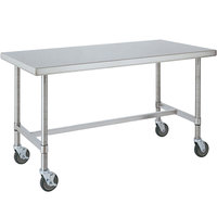 14 Gauge Metro MWT307HS 30 inch x 72 inch HD Super Open Base Stainless Steel Mobile Work Table