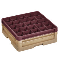 Vollrath CR10FF-32921 Traex® 9 Compartment Beige Full-Size Closed Wall 6 3/8 inch Glass Rack - 1 Beige Extender, 1 Burgundy Extender