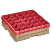 Vollrath CR10F-32902 Traex® 9 Compartment Beige Full-Size Closed Wall 4 13/16 inch Glass Rack with 1 Red Extender