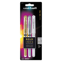 Uni-Ball 1919997 Impact Assorted Metallic Ink with Assorted Barrel Color 1mm Roller Ball Gel Stick Pen - 3/Set