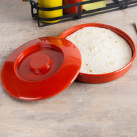 Thunder Group NS608R 8 1/4 inch Nustone Red Tortilla Server with Lid - 12/Pack