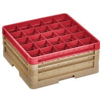 Vollrath CR10FFF-32902 Traex® 9 Compartment Beige Full-Size Closed Wall 7 7/8 inch Glass Rack - 2 Beige Extenders, 1 Red Extender