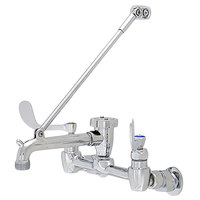 Fisher 19801 Wall Mounted Service Sink Faucet with 8 inch Centers, 6 inch Service Sink Spout, Garden Hose Outlet, and Wrist Handles
