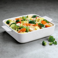 Villeroy & Boch 13-6021-3245 Cooking Elements 8 1/4 inch x 8 1/4 inch White Porcelain Square Serving Dish / Lid - 6/Case