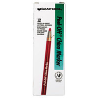 Sharpie 2059 Peel-Off Red China Marker   - 12/Pack